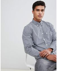 Abercrombie & Fitch - Core Poplin Gingham Shirt Slim Fit In Navy - Lyst