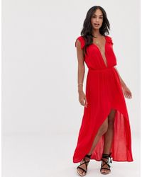 9c5e467af940a ASOS - Plunge Beach Maxi Dress With Ruffle Shoulders   High Low Hem - Lyst