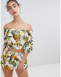 River Island - Pineapple Print Off The Shoulder Beach Top - Lyst