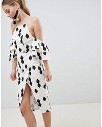 ASOS - Design Extreme Bandeau Frill Sleeve Wrap Front Midi Dress - Lyst