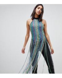 A Star Is Born - Going Out Festival High Neck Bodysuit With Multi Colored Tassels - Lyst