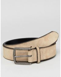ASOS - Wide Suede Belt In Tan With Burnished Edges - Lyst