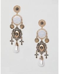 ASOS - Statement Earrings In Vintage Style Coin And Cut Out Design With Pearls In Gold - Lyst