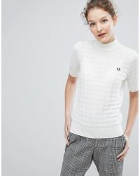 Fred Perry - High Neck Houndstooth Jumper - Lyst