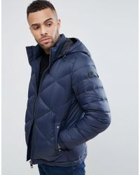 BOSS - By Hugo Boss Obaron Removable Hooded Padded Jacket In Navy - Lyst