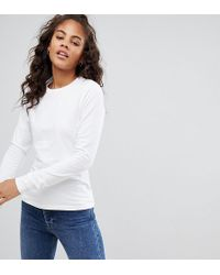 808c6033f5c ASOS - Asos Design Tall Ultimate Top With Long Sleeve And Crew Neck In White  -