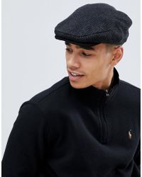 Polo Ralph Lauren - Dogtooth Check Wool Flat Cap Suede Trim In Charcoal - Lyst