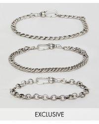 d893bd499b88 Reclaimed (vintage) - Pack de pulseras de cadena en plateado pulido  exclusivo en ASOS