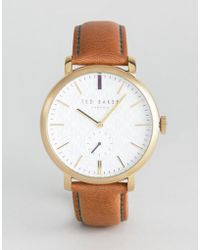 Ted Baker - Trent Leather Watch In Tan - Lyst