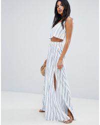ASOS DESIGN - Jersey Beach Co-ord Maxi Skirt In Stripe - Lyst