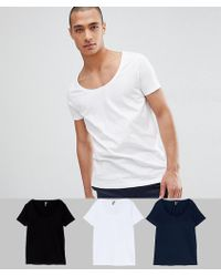 ASOS - T-shirt With Scoop Neck 3 Pack Save - Lyst