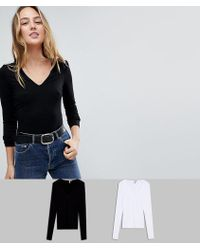 ASOS - Asos Design Tall Ultimate Top With Long Sleeve And V-neck 2 Pack Save 15% - Lyst