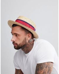 ASOS - Straw Boater In Natural With Band Detail - Lyst