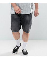 ASOS - Plus Slim Denim Shorts In Washed Black - Lyst