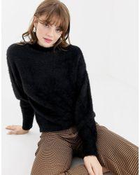 Monki - Fluffy Knit Sweater In Black - Lyst