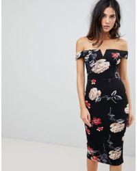 AX Paris - V Neck Bardot Pencil Dress In Floral Print - Lyst