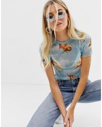 Bershka Angel Print Tshirt In Blue