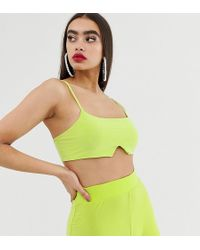 Missguided - Co-ord Slinky Bralet In Neon Lime - Lyst