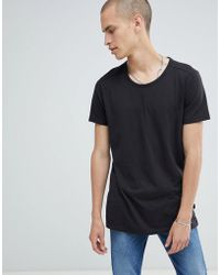 Lee Jeans - T-shirt With Stepped Hem Black - Lyst