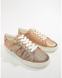 Missguided - Gold Ruffle Trainers - Lyst