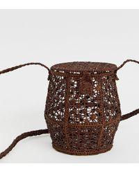 Kaanas - Raffia Honey Pot Cross Body Bag In Cocoa - Lyst