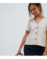 ASOS - Asos Design Petite Boxy Top With Contrast Buttons - Lyst