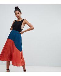Boohoo - Color Block Pleated Midi Skirt In Multi - Lyst