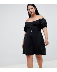 ASOS - Asos Design Curve Mini Skater Dress With Hook And Eye Detail - Lyst