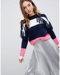 ASOS - Block Stripe Sweater With Fringing - Lyst