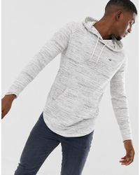 Hollister - Icon Logo Hooded Long Sleeve Top Contrast Trim In White Marl - Lyst