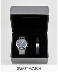 Emporio Armani - Connected Art9003 Mesh Hybrid Smart Watch & Bracelet Gift Set - Lyst