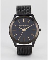 Michael Kors - Mk8607 Slim Runway Mesh Watch In Black 44mm - Lyst