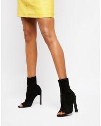 Public Desire - Craze Black Open Toe Sock Boots - Lyst