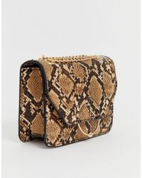 ASOS - Ring And Ball Cross Body Bag With Chain Strap In Snake - Lyst b8359455c50a3