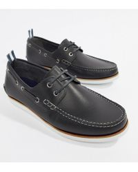 ASOS - Boat Shoes In Navy Leather With White Sole - Lyst