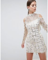 AX Paris - High Neck Long Sleeve Dress With All Over Embellishement - Lyst