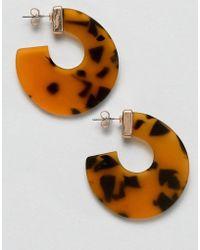 Pieces - Tortoise Hoop Earrings - Lyst