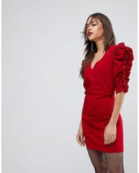 Mango - Red Ruffle Sleeve Dress - Lyst