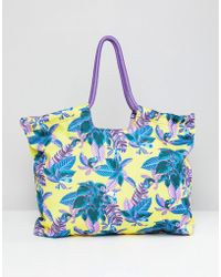 Monki - Tropical Beach Bag In Yellow Tropical - Lyst