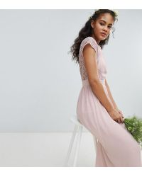 TFNC London - Maxi Bridesmaid Dress With Scalloped Lace And Open Back - Lyst