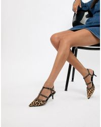 Dune - Cristyn Faux Leopard Studded Kitten Heeled Shoes - Lyst