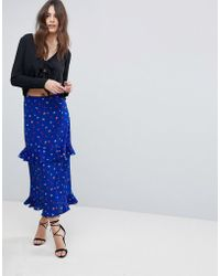 Fashion Union - Tiered Midi Skirt In Ditsy Floral - Lyst