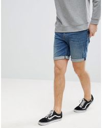 ASOS - Denim Shorts In Slim Mid Wash With Abrasions - Lyst