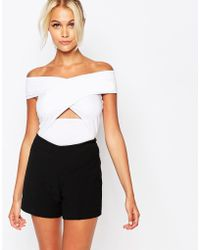 Fashion Union - Wrap Front Off Shoulder Body - Lyst