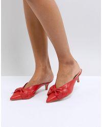 Carvela Kurt Geiger - Acacia Leather Red Bow Kitten Heels - Lyst