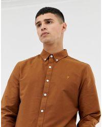 Farah - Brewer Slim Fit Oxford Shirt In Tan - Lyst