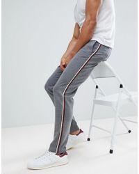 Stradivarius - Slim Fit Trousers With Side Stripe Grey - Lyst