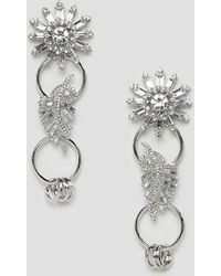 ASOS DESIGN - Earrings With Linked Jewel Brooch Design In Silver - Lyst