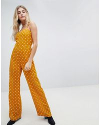 Honey Punch - Cami Jumpsuit With Wide Leg In Spot - Lyst