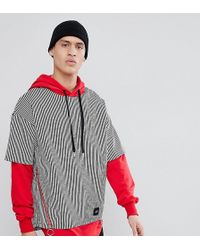 Sixth June - Hoodie With Shirt Overlay Exclusive To Asos - Lyst